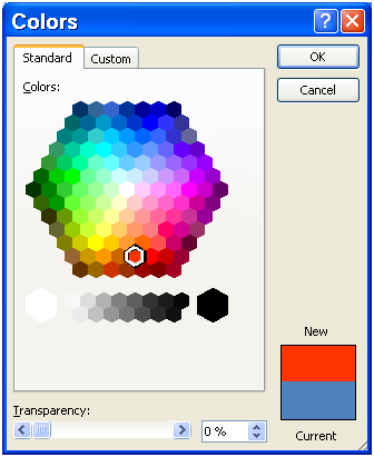 The word 2003 expanded colors dialog